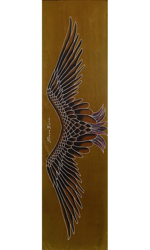 Crane wings hand painted silk scarf for women with gold background