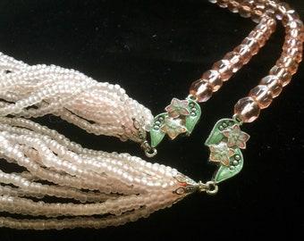 "Pink Crystal Necklace 2pc ""1928"" Company Pink Enamel Necklace Floral Enamel Bead Necklace Multi Strand Swarovski Crystal Necklace Vintage"