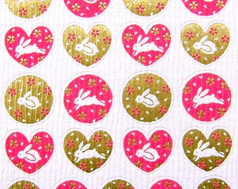 Beautiful Japanese Stickers Rabbits Sakura Cherry Blossoms Chiyogami Paper S89