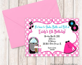 50s invitations etsy 50s party printable invitation fifties girl birthday invitation printable invitation custom wording stopboris Image collections