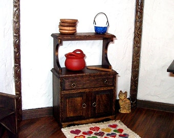 Rustic Hutch Cabinet, Dollhouse Miniature 1/12 scale, Hand Made in the USA