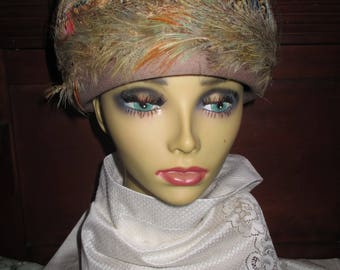 REDUCED Vtg Mid Century Henry Pollak Melosoie Wool Netting Covered Pheasant Style Feathers Original Ferncroft Hat