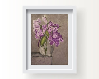 Purple flowers in vase Still life