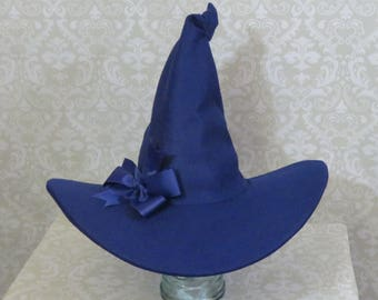 Blue Witch Hat- Felt Hat with Bow or Feathers