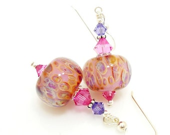 Pink Earrings, Boro Glass Earrings, Lampwork Earrings, Glass Bead Earrings, Glass Earrings, Glass Bead Jewelry, Boro Glass Jewelry