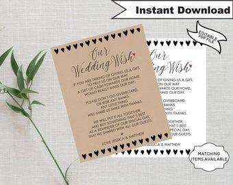 Wedding Wish Honeymoon Wish Poem Template Wedding Money Gift Poem Request Invitation Insert Editable Printable DIY Minimalist Hearts PCWDWS