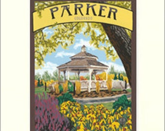 Parker Matted Giclée Art Print: Colorado Series, The Bungalow Craft by Julie Leidel, WPA-Style Art, Arts & Crafts Movement