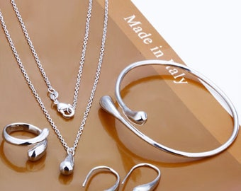 Solid 925 Sterling Silver teardrop bracelet/necklace/ring/earring Set