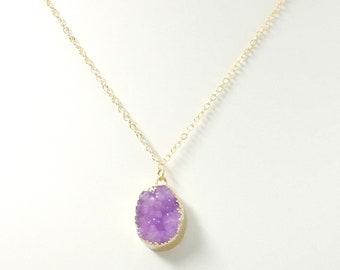 Violet Druzy Necklace, Lavender Druzy Necklace, Purple Druzy Necklace, Lilac Druzy Necklace