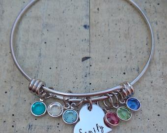 Hand stamped charm Custom Family bangle Bracelet with Swarovski Crystal birthstones gift for Grandma Mommy Nana Mom Personalized Jewelry