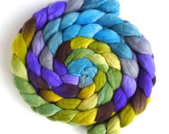 Finn Wool Hand Spinner's Roving, Hand Painted Colorway, Clouds Over Hyacinths