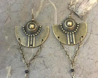 Vintage Style Earrings antique style Earrings Vintage Style Jewelry Gothic Earrings brass earrings punk earrings rocker earrings chain