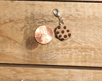 Tiny polymer clay chocolate chip cookie charm