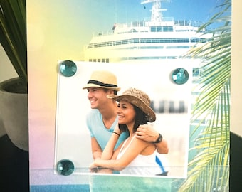 Tropical Cruise Ocean Voyage - Magnetic Picture Frame Handmade Gift Present Home Decor by Frame A Memory Size 9 x 11 Holds 5 x 7 Photo