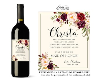 Will You Be My Maid Of Honor Wine Label | Printable Floral Watercolor Bridesmaid Proposal Wine Bottle Labels, Matron Of Honor, Flower Girl