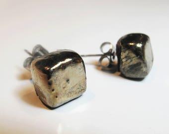 Nut-shaped Raku ceramic earrings