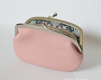 Women's Pale Pink Leather Frame Wallet with Divider Liberty of London  2 Section 2 compartment