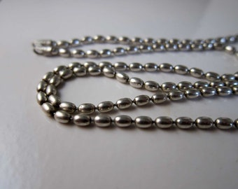 Vintage Diagonal Designer Italy Sterling Polished Beads Necklace 24 Inches