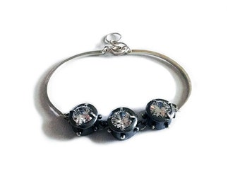 Sterling Silver Bracelet with a Dark Patina and a Cubic Zirconia