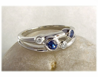Diamond and Sapphire Wedding Ring, Mother's Ring