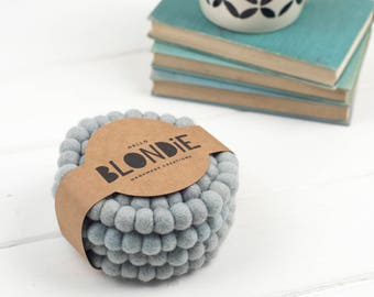 Ice Blue Felt Ball Coaster Gift Set // Set of 4 coasters // FREE black luxury gift box