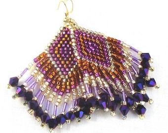 Bronze Gold Purple Beaded Fringe Dangle Earrings