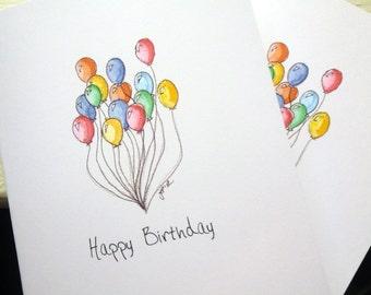 Balloon Art Birthday Cards Set, Watercolor Art Notecards, Set of 4