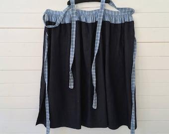 Dutch Indigo Blue Vintage Apron/ Wrap-around Skirt/Fisherman's Trousers