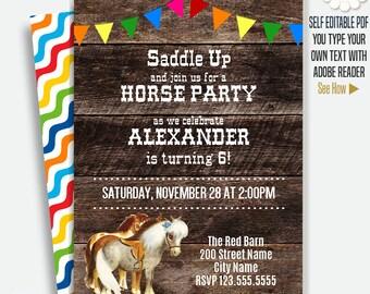 Horse party invitation, Pony invitation, Horse birthday, Printable Self Editable PDF A131-635