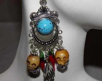 Day of the Dead Earrings, Bone Skulls, Dia de los Muertos Earrings, Day of the Dead Jewelry, Goth Halloween Earrings OOAK