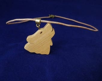 cherry wood and leather Wolf pendant