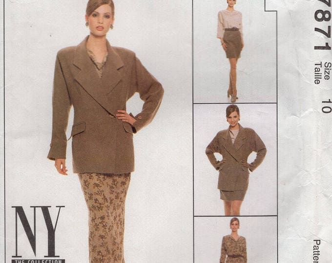 Free Us Ship McCall's 7871 NYNY Collection Suit Jacket Skirt Blouse 1995 Kimono Sleeve Size 10 Bust 32.5 Uncut Sewing Pattern