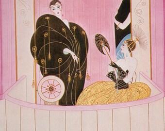 Erté Print, Art Deco Loge de Theatre 1912 Original Vintage Art Print. Sumptuous Eye Catching Color