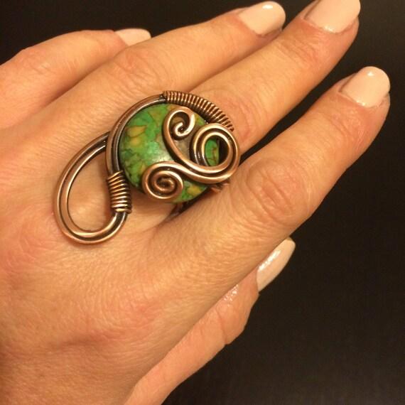 Grüner Jaspis Ring Edelstein-Ring Draht gewickelt Schmuck