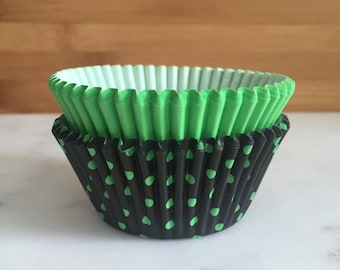 Neon Green & Black Cupcake Liners, Standard Sized, Baking Cups (50)