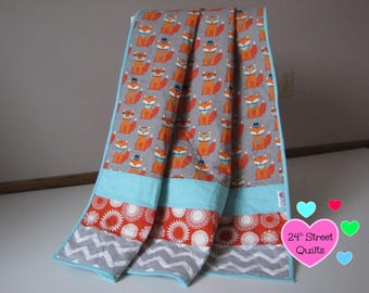 Baby Quilt, Baby Blanket, Crib Quilt   Foxes
