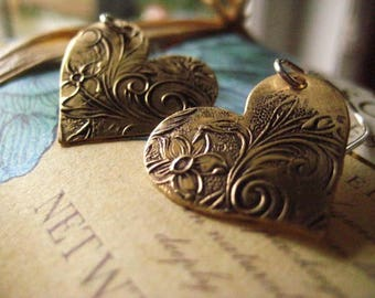 Heart Earrings, Pure Brass, Sterling Silver, Mixed Metals, Hand Stamped, Golden Brass, Oxidized Design, Heart Shape, candies64
