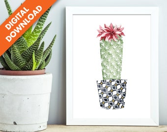 Mammilaria - The Best Friends Collection - Watercolor Cactus Wall Art Print