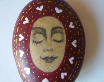 Hand painted meditation face art stone, paperweight.