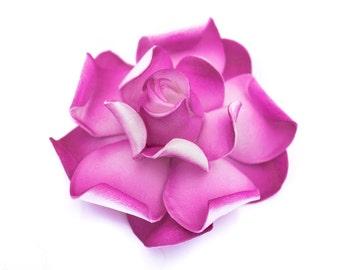 Pink Gardenia Hair Clip, 3 Inch, Pink Floral Hair Clip, Bridal Hair Accessory, Gardenia