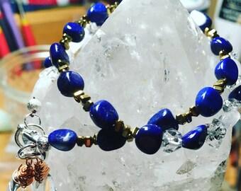Lapis Lazuli Moonstone & Afghan diamond wrap bracelet