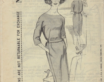 Bust 36 1/2-FACTORY FOLDED 1962 Misses' Dress Spadea Designer Pattern by Herbert Sondheim 1096 Sz 14