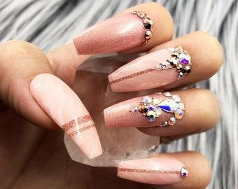 Pinky Winky Marble Swarovski Crystal Nail | Press On Nails | Any Shape | Fake Nails | False Nails | Glue On Nails | Bridal Nails