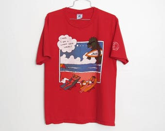 Vintage Hobie T-shirt / 1980s Surf Monster Red Cotton Unisex Tee