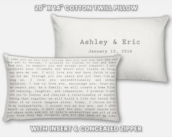 Wedding Vow Pillow Wedding Vows on Pillow Wedding Vows Printed on Pillow