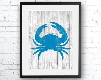Crab art illustration print, Crab painting, Nautical, Wall art, Rustic Wood art,  Animal print, Home Decor, Animal silhouette, wood print