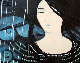 Artwork original painting with acrylics - Geisha in the rain no. 2-