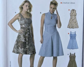 BURDA Easy Sewing Pattern 7949 Misses' Sleeveless Dress Fitted Bodice Flared Skirt Neckline Variations UNCUT Factory Folds Sizes 6-18