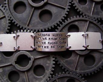 STRONG WOMEN... hand stamped brushed aluminum bracelet