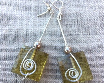Earrings, Square green Bead With Silver Wire